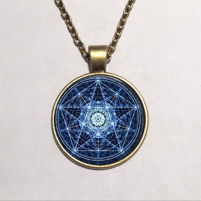 Free shipping round glass necklace blue wiccan glass pendant free shipping round glass necklace blue wiccan glass pendant necklace personality pentagram occult necklaces pendants jewelry aloadofball Gallery