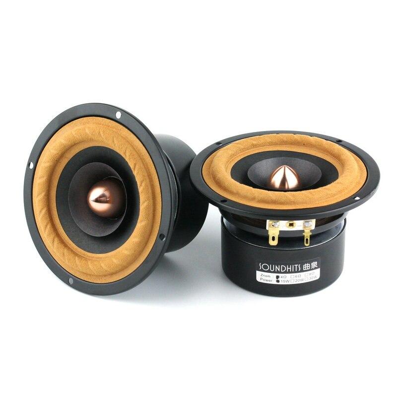 2 PZ Nuovo Soundhits SQ402R Driver Dell'altoparlante da 4 pollici FAI DA TE Pieno di Frequenza Misto Nero Cono di Carta Schermato 4/8ohm 15 W Diametro 118mm Rotondo
