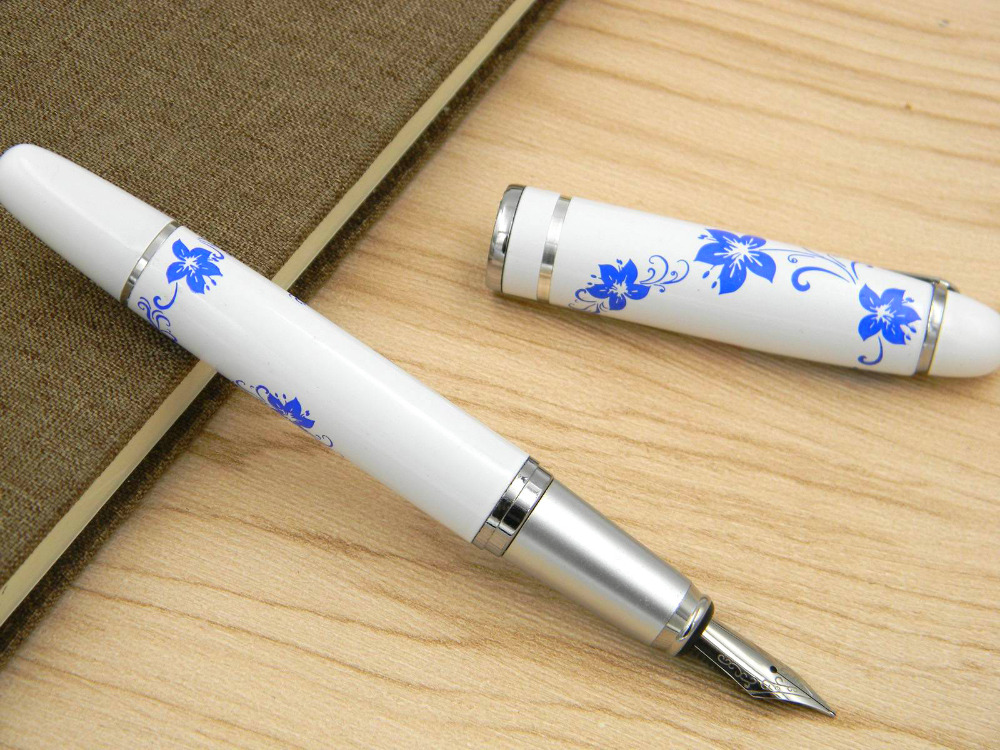 Blue And White Porcelain Painting Orchid Medium Nib Fountain Pen