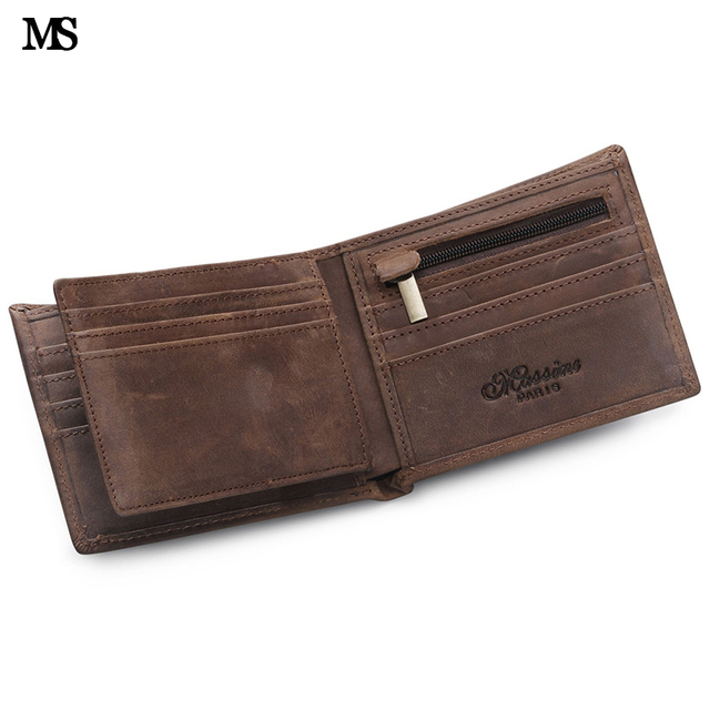MS Vintage Men Crazy Horse Leather Wallet Credit Card  ID Cash Holder Wallet Trifold Zipper Coin Wallet (Random Logo) Q611-5