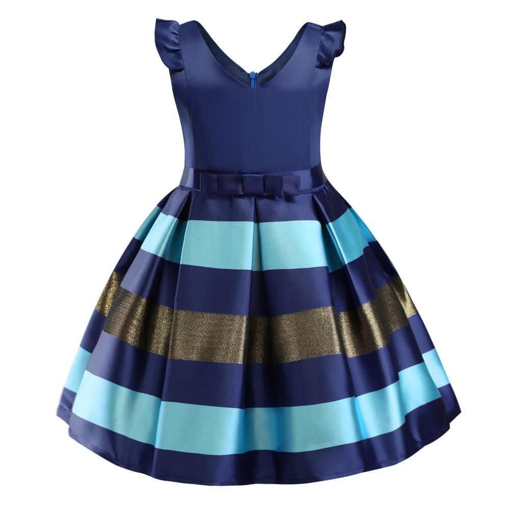 e04b1a8e7ce9e Baby Girls Striped Dress For Girls Formal Wedding Party Dresses Kids  Princess Christmas Dress costume Children Girls Clothing