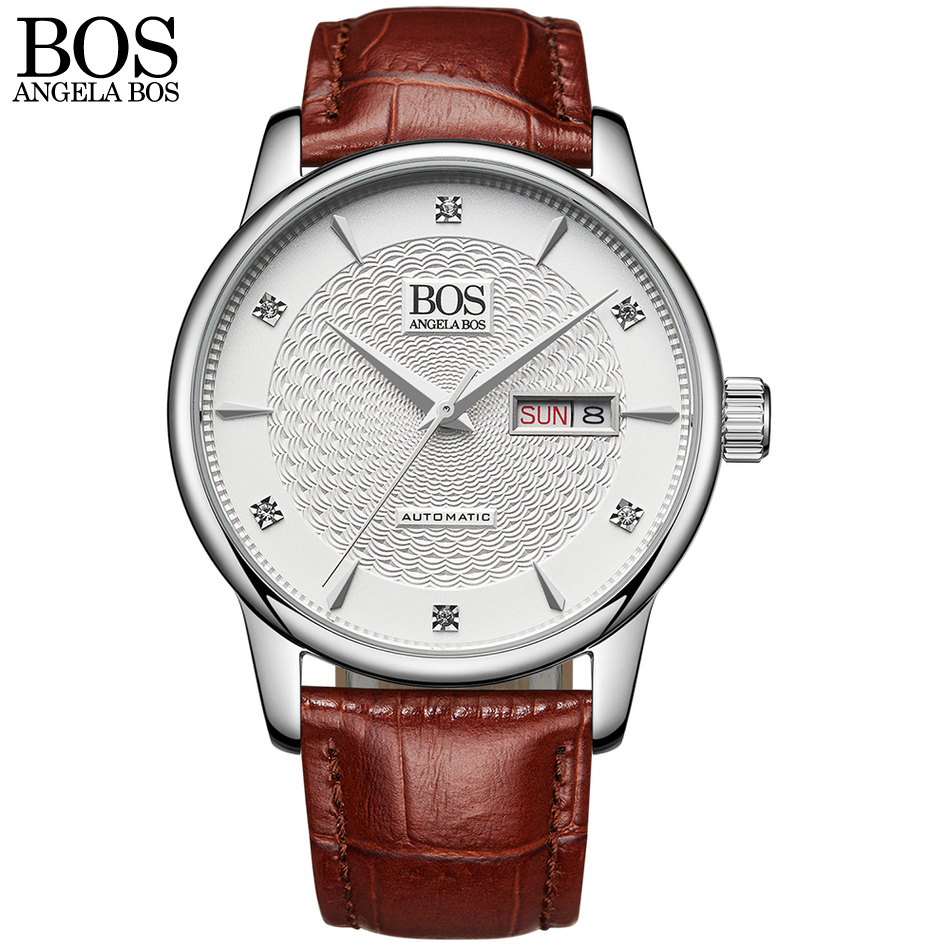 ANGELA BOS Business Self Wind Automatic Watch Man Mechanical Sapphire Wavy Pattern Genuine Leather Men Luxury Watches Wristwatch deluxe ailuo men auto self wind mechanical analog pointer 5atm waterproof rhinestone business watch sapphire crystal wristwatch
