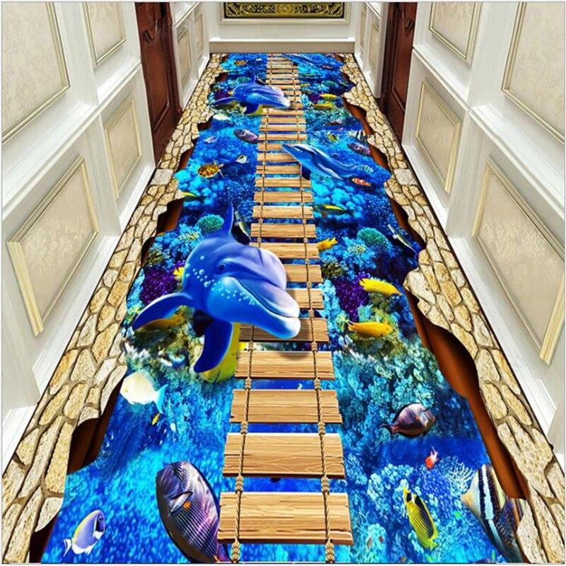 AOVOLL 3D impression tapis couloir couloir couloir hôtel center commercial Hall d'entrée canal tapis de cuisine tapis pour le salon