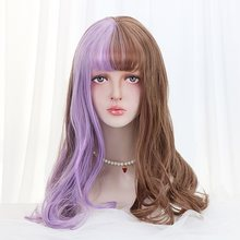 "20""Synthetic Long Curly Lolita Wigs With Bangs Brown Purple Ombre Custom Japan Harajuku Cosplay Wigs For Women Heat Resistant(China)"