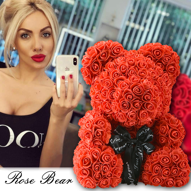 2019 Drop Verschiffen 40 cm Rot Bär Rose Künstliche Seife Rosen Teddi Bär Ewige Rose Blume Weihnachten Valentinstag Geschenk Mädchen freund