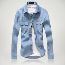 2016 Men's cotton casual Long-sleeve Slim denim shirts New spring Classic blue style Popular youth clothing shirts Size M-3XL