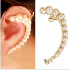Personalized Pearl Gentlewomen Earrings Stud Ear clip Hook Half Moon Ear Cuff Earring C5R14