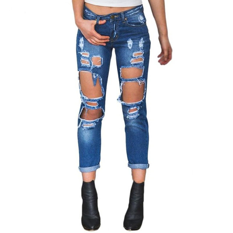 TANGNEST Women Hole Ripped Jeans Summer Female Boyfriend Cool Vintage Straight Mid Waist Girl Casual Demin Pants WKN549 женские блузки и рубашки summer blouse blusas femininas 2015 roupas s