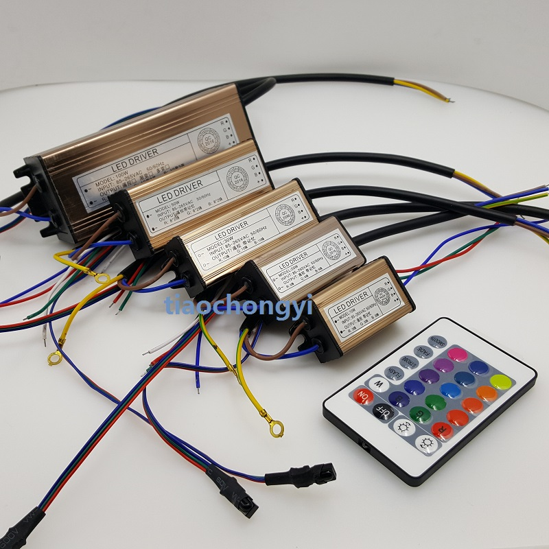Waterproof 10W 20W 30W 50W 100W RGB <font><b>LED</b></font> <font><b>Driver</b></font> 24 Key Remote For RGB <font><b>LED</b></font> lamps Floodlight Spotlight image