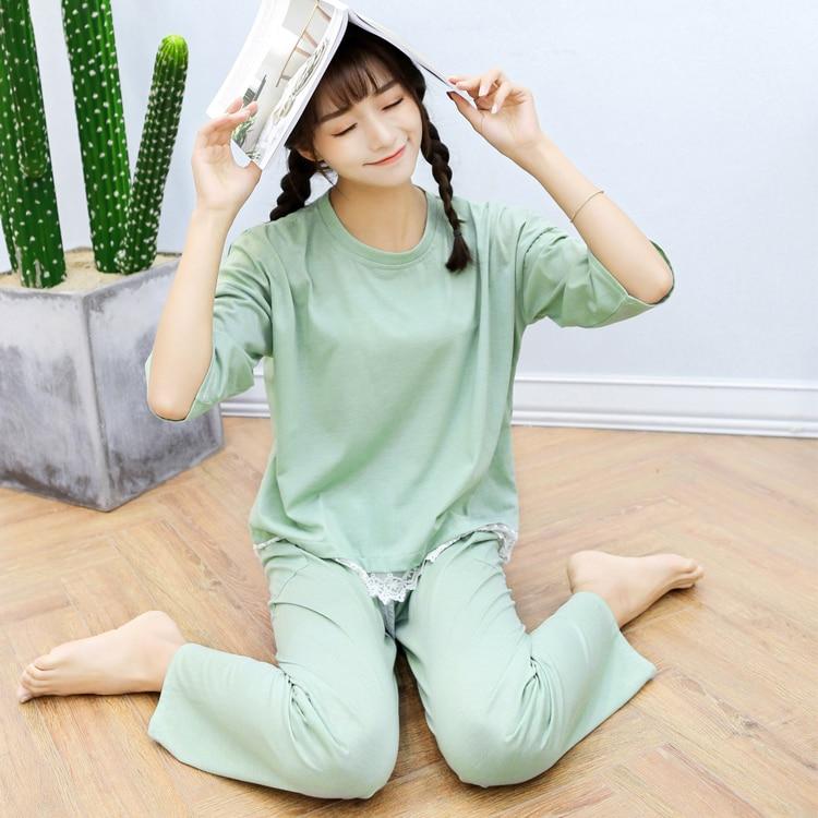 Fashion Women Lovely Leisure Thin Cotton Sleepwear Pure Color Lace Edge Women Pajamas Casual Long-sleeved Pyjamas Women ...