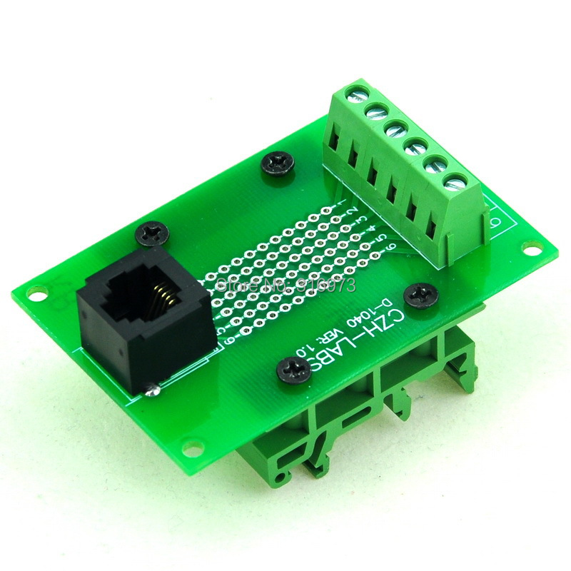 RJ11/RJ12 6P6C Interface Module With Simple DIN Rail Mounting Feet,Vertical Jack