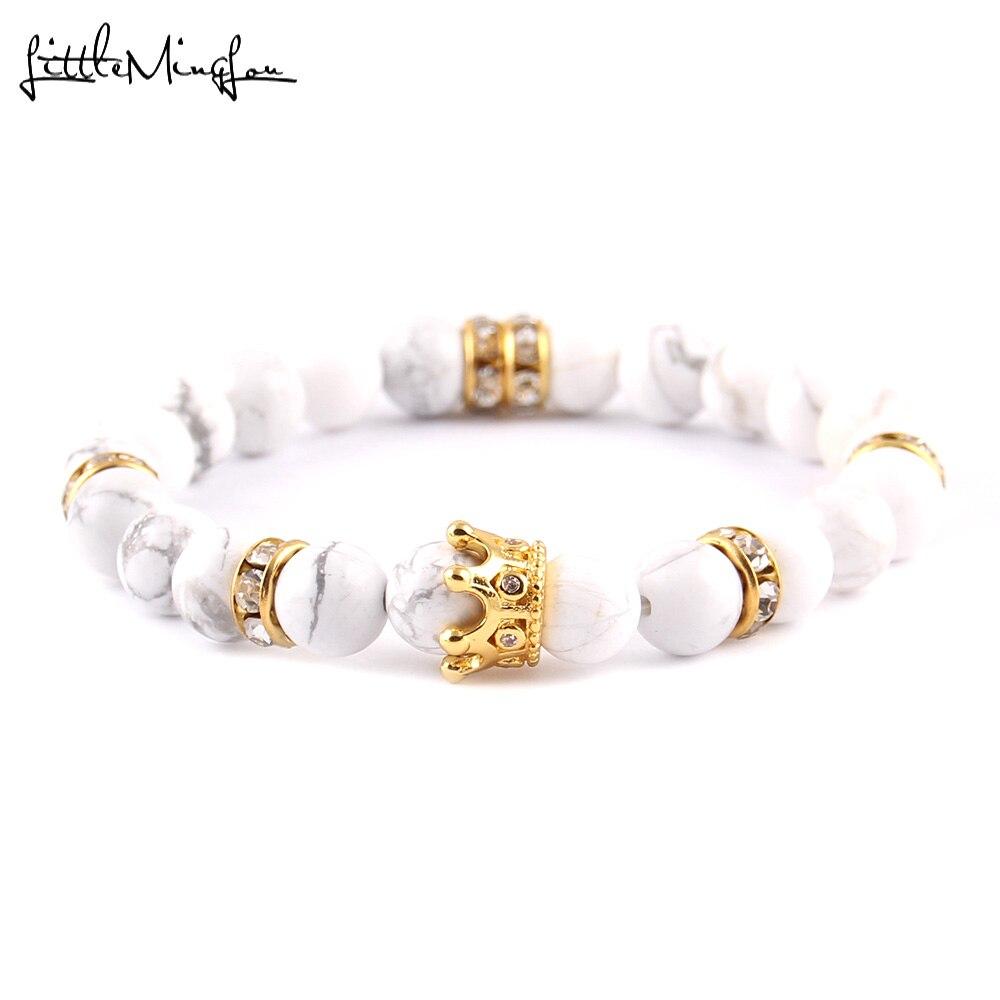 Little Minglou Luxury 8mm white stone bead women bracelet pave CZ Crown Charm Braided Bracelets & bangles for women jewelry