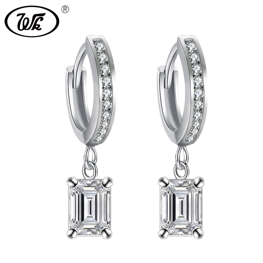 WK NEW Design 925 Silver 5A Clear Rectangle Crystal Drop Pendant Ear Clip Earrings Woman Female Trending Jewelery Brincos ED028