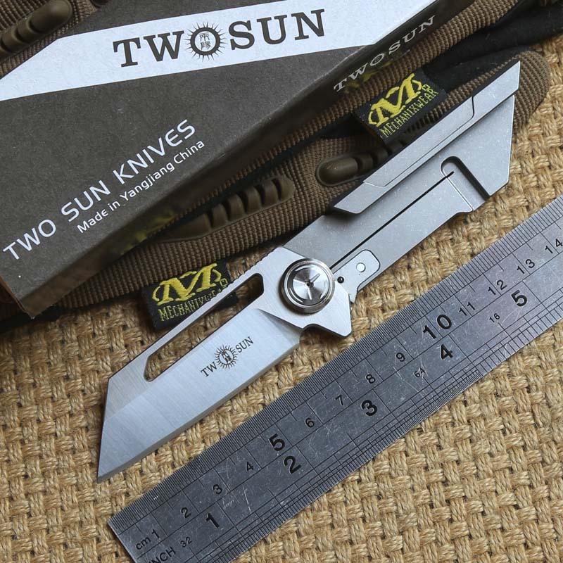 TWO SUN TS77 D2 blade ball brearing folding knife titanium handle camping hunting Pocket knives outdoor gear Survival EDC Tools two sun ts38 d2 blade tactical ball brearing folding knife titanium camping hunting pocket knives outdoor survival edc tools