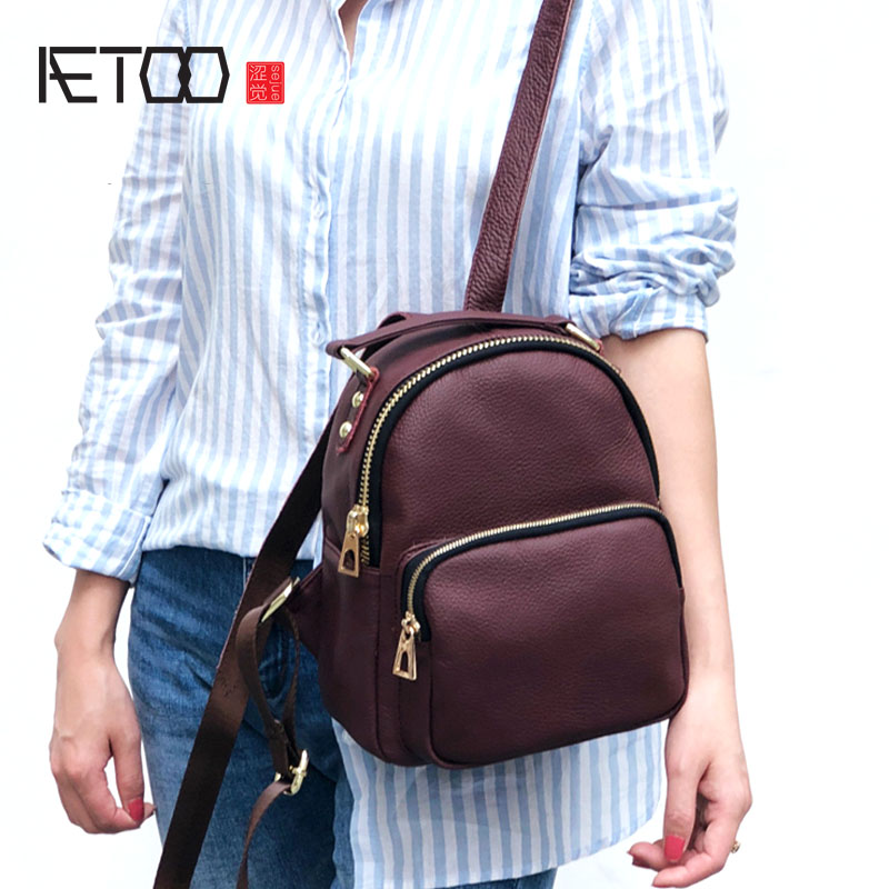 AETOO New Japanese Korean leather mini shoulder bag female retro first layer leather tide wild personality
