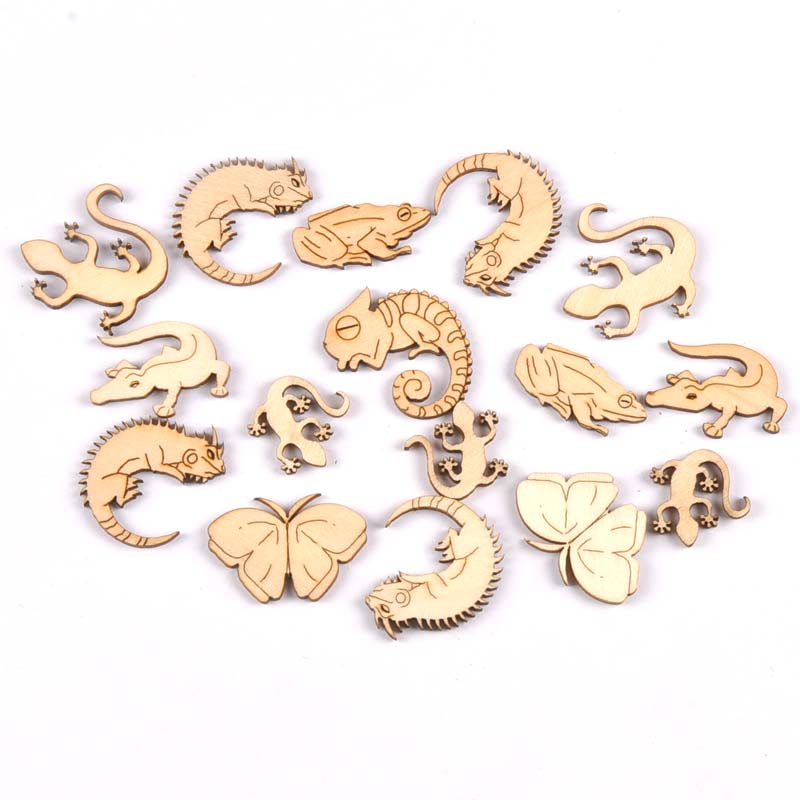 Mixed Reptile/gecko Natural Wood Slices DIY Crafts Scrapbooking Home Decor 20pcs 20-35mm Unfinished Wooden Ornaments M1936