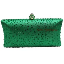 Women's Dark Green Evening Clutch Bags with Sparkle Crystal Diamonds for Ladies Wedding Prom Evening Party Crystal Box Clutch