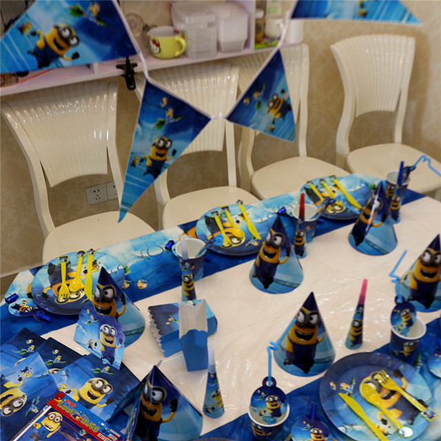 Minion Theme Birthday Party Decor Paper Plate Cup Napkin Banner Flag Candy Box Straw Tableware