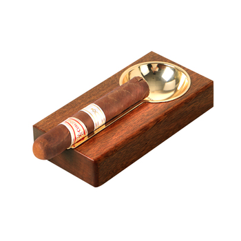 COHIBA Luxury Spoon Shaped Metal Groove PANGA-PANGA Wood Cigar Ashtray with one Stainless Steel Rests