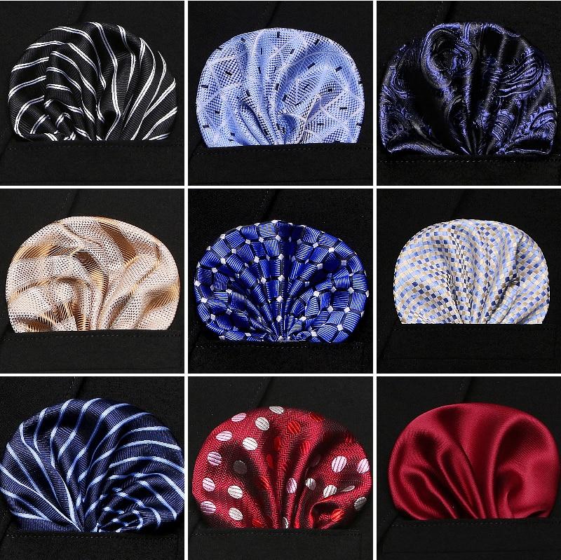 New 50Colors Handkerchiefs Woven Plaid Paisly Striped Hanky Men's Business Casual Square Pockets Handkerchief Wedding Hankies