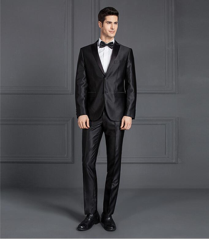 Suit Cheap Formal Men Shiny Blue Black Gray Groom Wedding Slim Fit Two Buttons Male Latest Coat Pant Designs