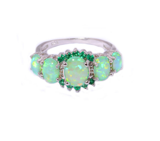 Green Fire Opal Crystal Silver Plated Ring
