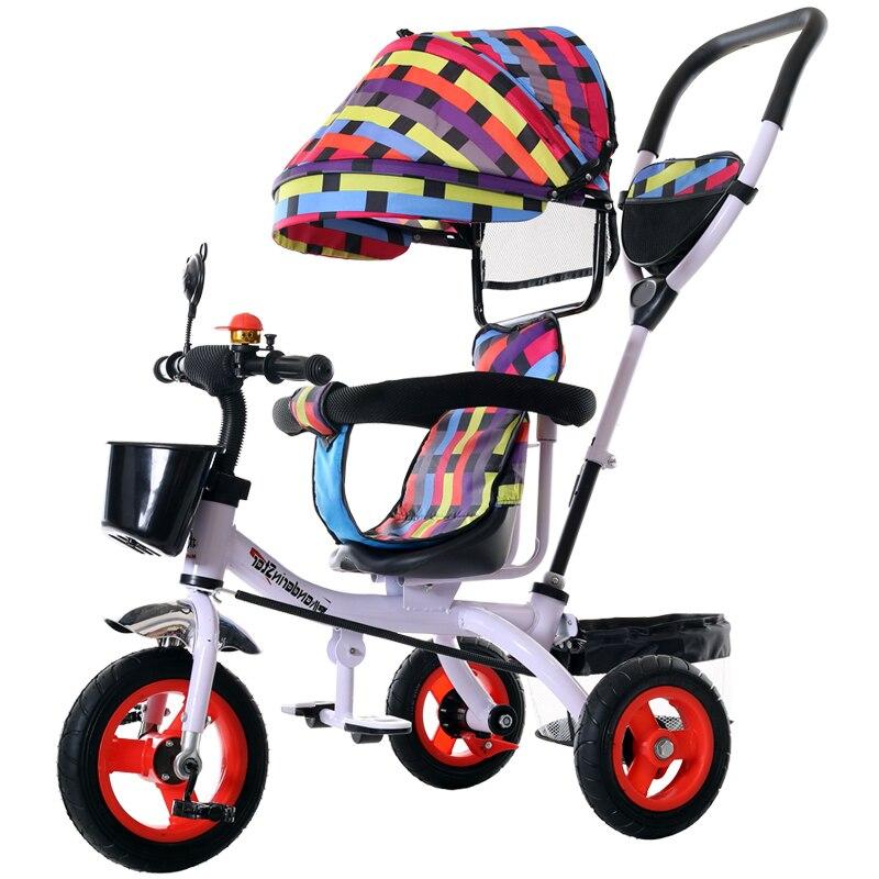 Tricycle enfant espace roue bébé vélo grand chariot à pousser poussette 3 roues pour enfants bambin vélos voyage parapluie chariot