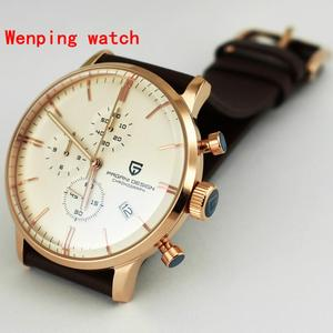 Image 3 - Top Fashion Design Pagani 43mm White Dial rose gold case Chronograph Japanese Quartz Mens Classical Simplicity watch gift