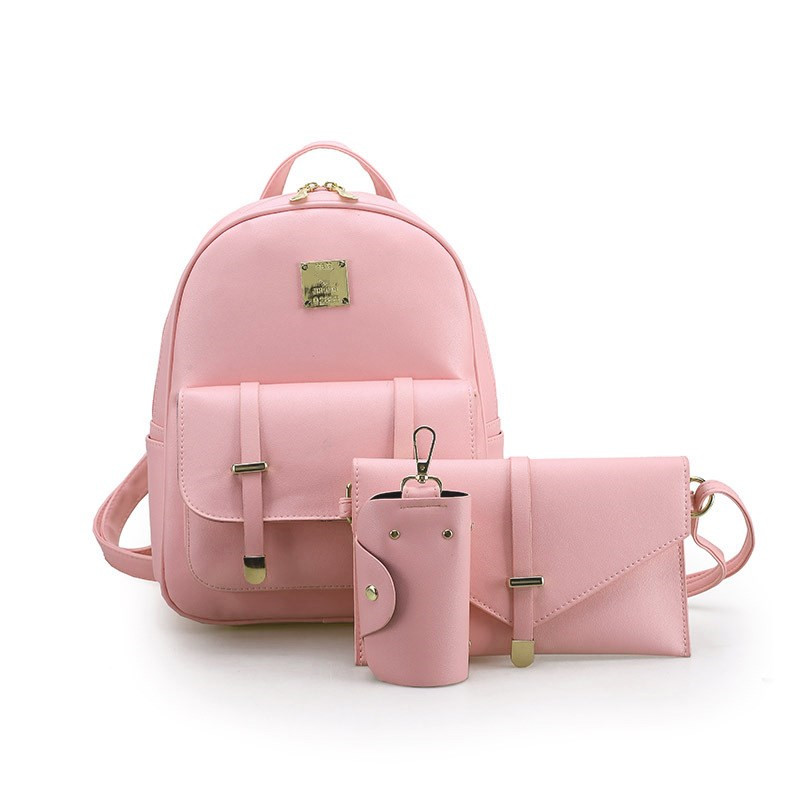 3Pcs/Set Zipper Mini Backpack Women Small Backpack Female Leather School Bags Shoulder Bag Day Clutch Lady Purse Girl Key Pouch jooz brand luxury belts solid pu leather women handbag 3 pcs composite bags set female shoulder crossbody bag lady purse clutch