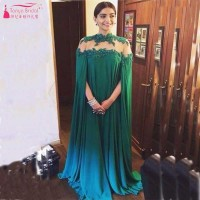 Dark Green Arabic Evening Dresses 2016 Lace Appliques Dubai Evening Gowns Muslim Evening Dress Gown