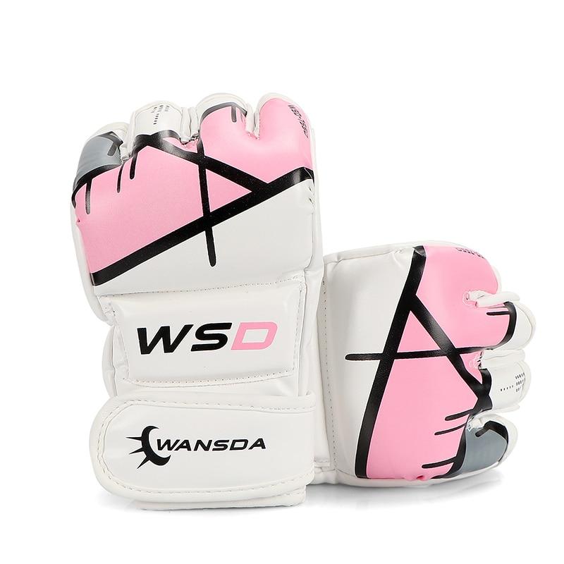 MUJER MMA sacador rosa BOLSA GUANTES Pro Style MMA guantes de agarre medio dedo lucha guantes de boxeo