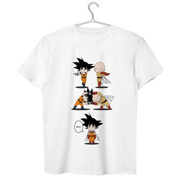 One Punch Saiyan T Shirt Original Novelty Anime Design T-shirt Dragon Ball Crossover One Punch Man 100% Cotton White Tee 1