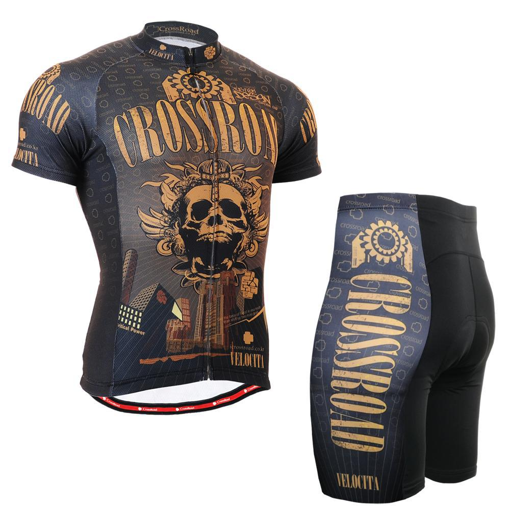 Life on track Technical Gold Skull Graphic Short Cycling Set Comfortable-fitting MTB Bike Tops Shirt W/ Padded Bicycle Shorts