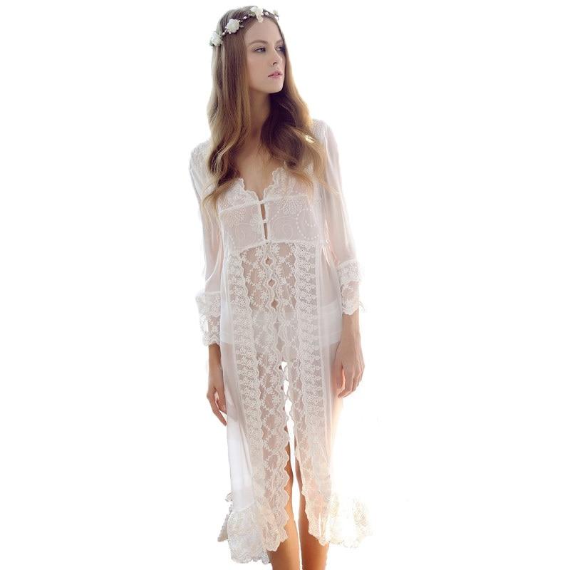 White Color Sexy women's Summer Robes Free Shipping Long Nightwear Wedding Bridal Nightwear Bathrobes Plus Size M L XL New Style