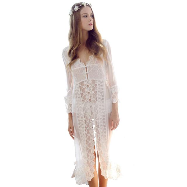 Cor branca Sexy Vestes de Verão das mulheres Frete Grátis Longo Nightwear Nupcial do casamento Roupa de Banho Plus Size M L XL Nova estilo