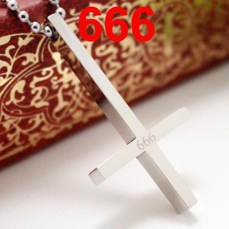 Stainless Steel 666 Inverted Cross Pendant Necklace Devil Lucifer Satan Satanic Jewelry High Quality Fashion Necklace