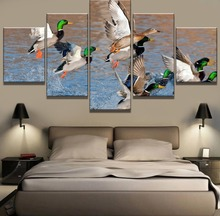 5 Piece HD Print Painting Ducks Hunting From Water Cuadros Landscape Canvas Wall Art Home Decor For Living Room Picture