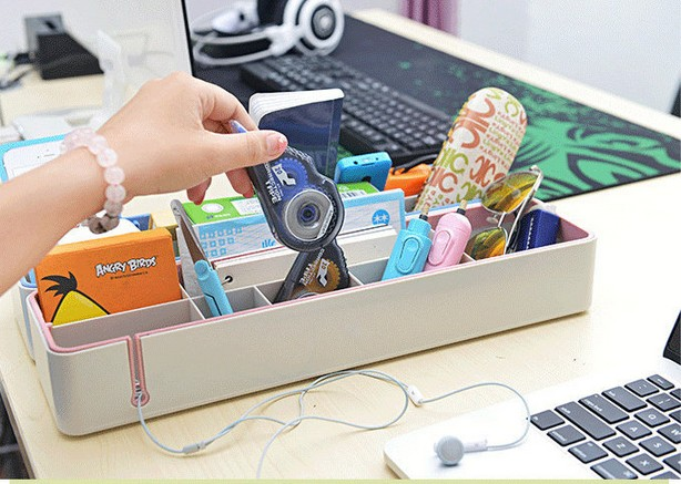 1PC Home Removable Plastic Storage Box Office Desktop Organizer Stationery Pen Pencil Box Holder Cosmetic Case Container OK 0216