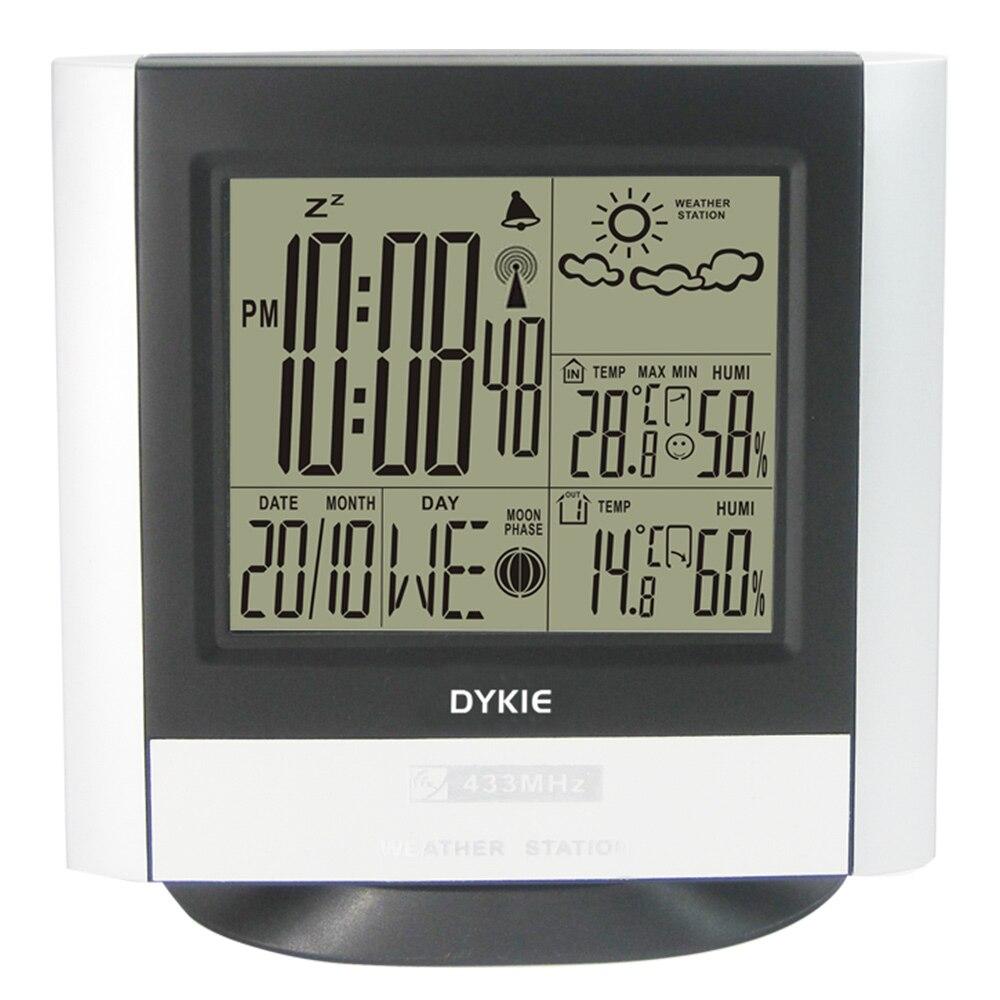 Praça Sem Fio Estação Meteorológica com Despertador Digital Indoor Outdoor Termômetro Higrômetro Eletrônico De Temperatura E Umidade