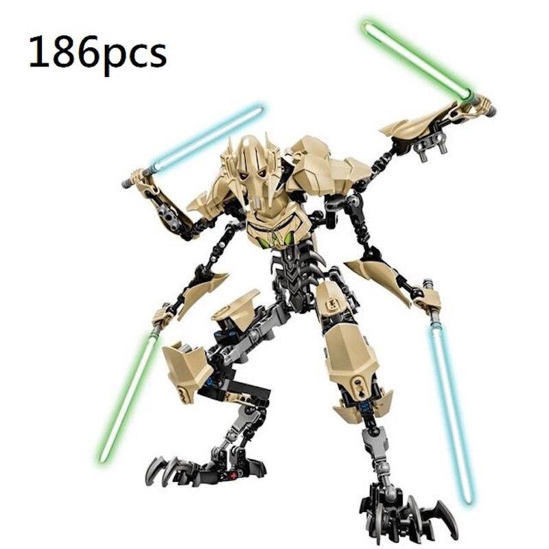 Decool 186 stücke Allgemeine Grievous mit Lichtschwert action Figur passen für minifigur Starwars Modell Bausteine Ziegel Spielzeug