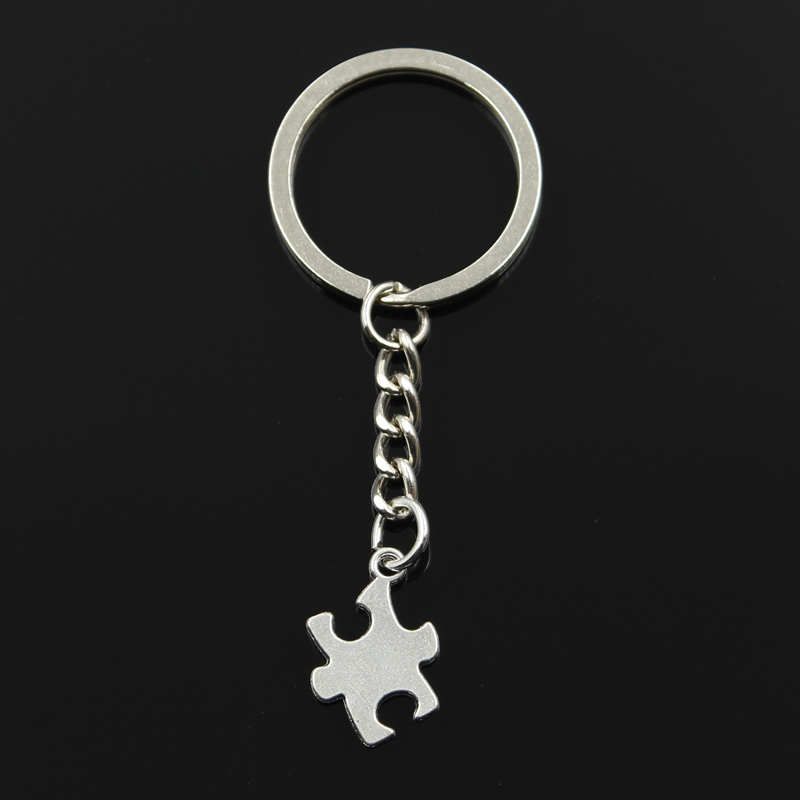 New Fashion Keychain 20x14mm Jigsaw Puzzle Piece Autism Pendants DIY Men Jewelry Car Key Chain Ring Holder Souvenir For Gift