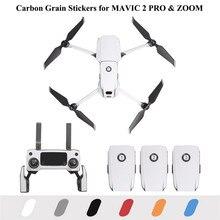 Dji mavic 2 pro & zoom drone 데칼 배터리 원격 암 랩용 pvc 카본 그레인 스티커 스킨