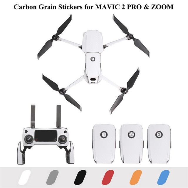 ملصقات PVC لحبوب الكربون لـ DJI MAVIC 2 PRO و ZOOM Drone ، ملصقات البطارية ، غلاف الذراع عن بعد