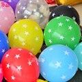 100 unids/lote EVERTS Espesantes Globos de Látex globo De Cumpleaños Decoración Impreso Estrella 12 pulgadas Claro Rojo Verde juguetes de Los Niños