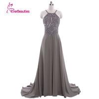 Cheap Long Evening Dresses 2019 Chiffon Cheap Backless Crystal Dress Wedding Party Dress Long Party Dress