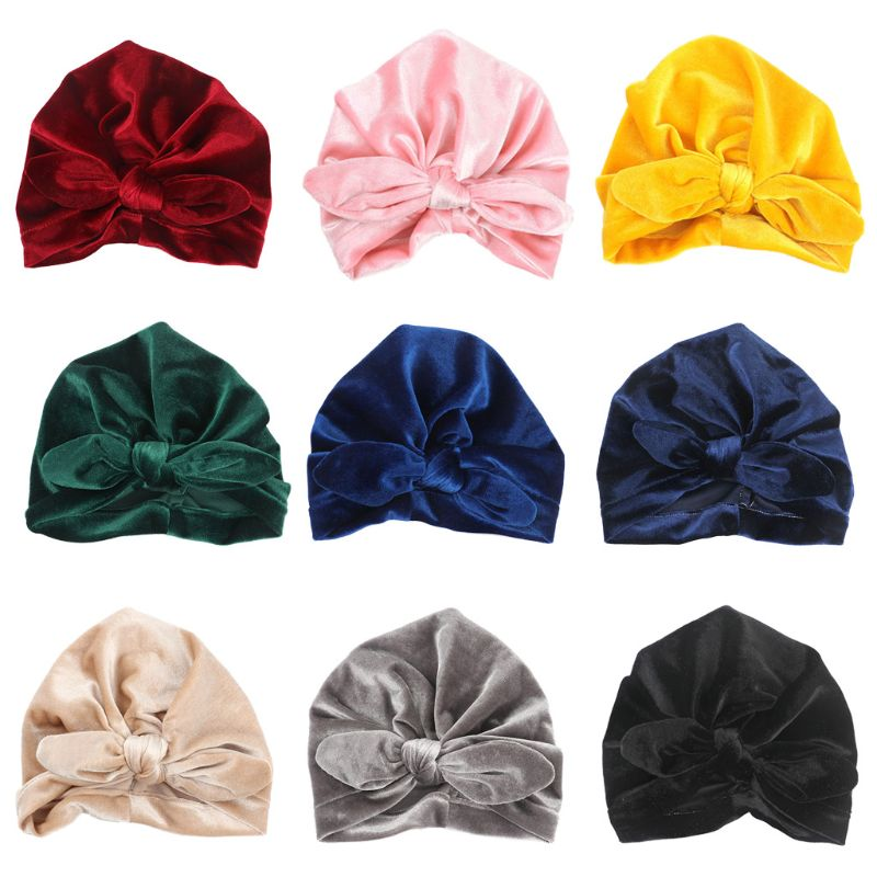 Newborn Toddler Baby Pleuche Cloth Turban Hat Solid Color Knotted Ruched Beanie Cap Elastic Rabbit Ear Bowknot Head Wrap Waterproof, Shock-Resistant And Antimagnetic