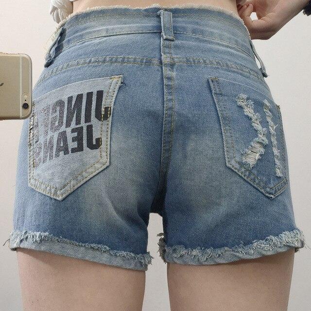 2019 New short ripped Jeans summer Slim thin Denim pants for Women Blue Girls Stretch Skinny Jean plus Size 5XL