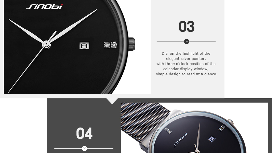 SINOBI Men Quartz Watch Luxury Top Brand Fashion Mesh Delicate Ultra-thin Business Watch Full Stainless Steel Male Wrist Watches 11