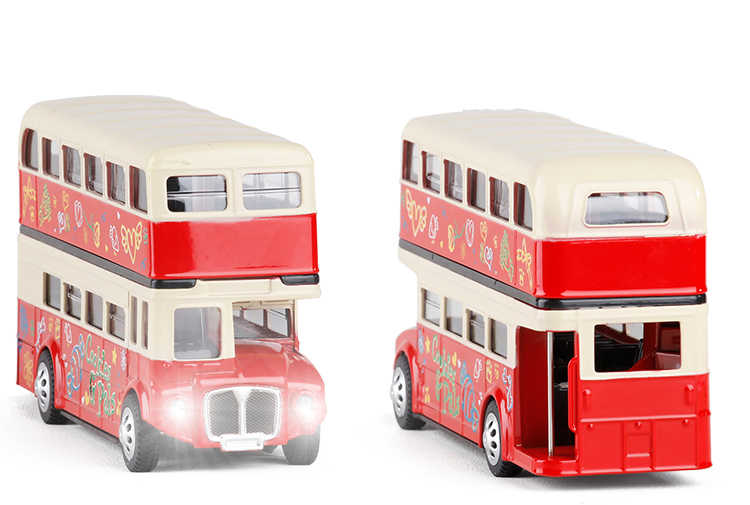 New 1:28 London double decker bus acousto-optic alloy car with pull back model for children birthday gifts toy free shipping