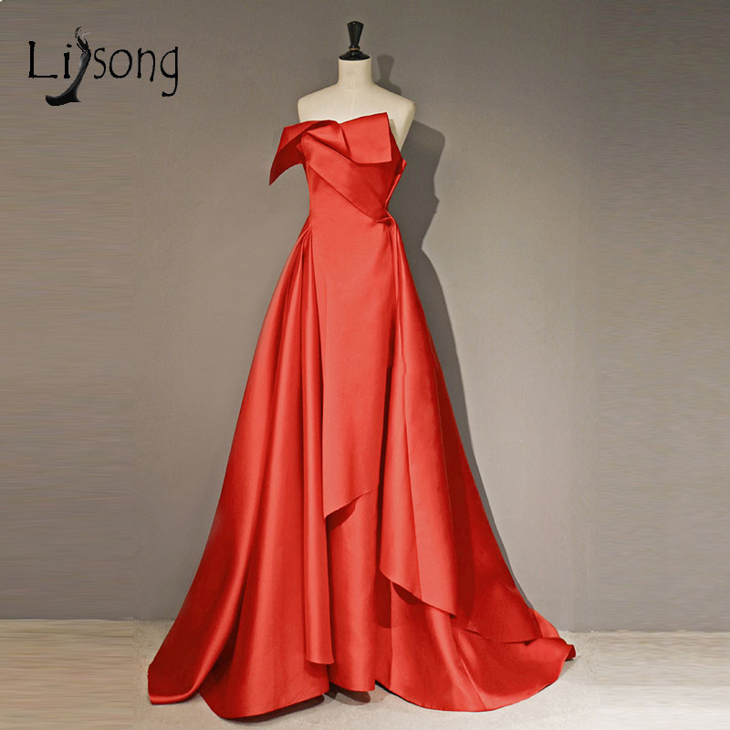 Abendkleider 2018 Hot Red Long Prom Gowns Pleated Ruffles Sexy Backless Prom Gowns Off Shoulder Party Dreses Robe De Soiree